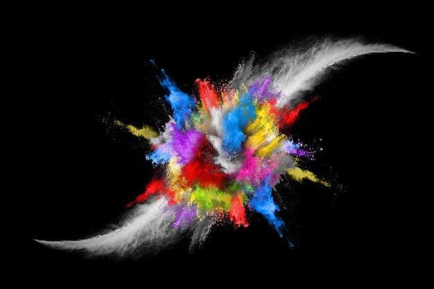 Abstrakcyjny kolorowy wybuch pyłu na czarnym tle