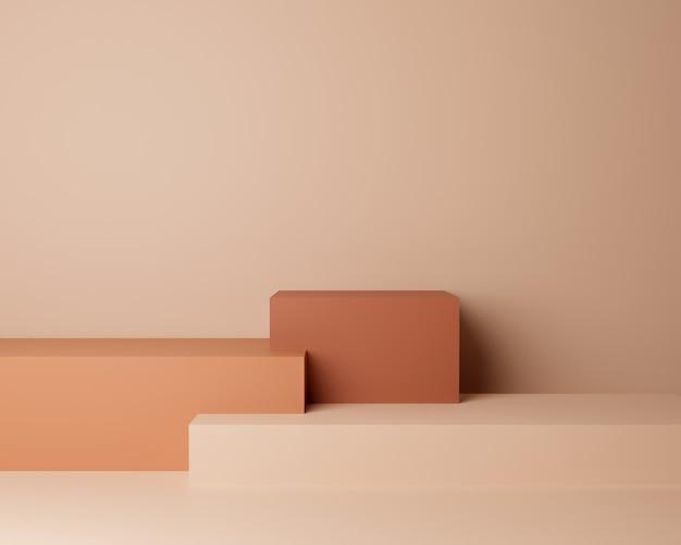Abstrakcyjny kształt geometryczny o minimalistycznym stylu i pastelowym kolorze. użyj do prezentacji kosmetyków lub produktów. renderowania 3d i ilustracji.