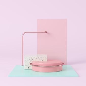 Abstrakcyjny kształt geometryczny pastelowy kolor, wyświetlacz podium dla produktu. minimalna koncepcja. renderowania 3d.