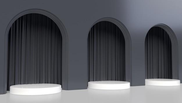 Abstrakcyjny kształt geometryczny z elementami architektonicznymi i zasłonami