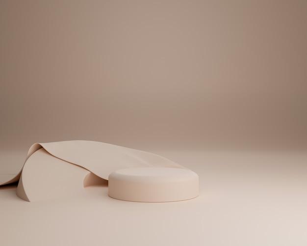 Abstrakcyjny kształt geometryczny z realistyczną szmatką użyj do prezentacji kosmetyków lub produktów. renderowania 3d i ilustracji.