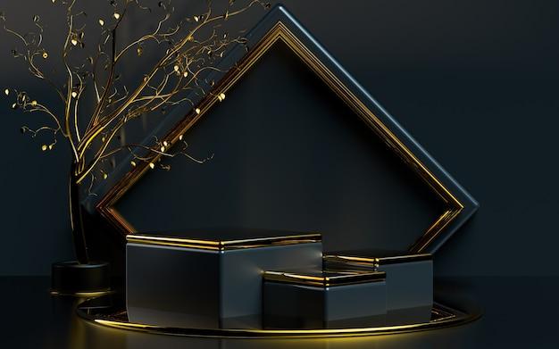 Abstrakcyjny kształt geometryczny ze złotymi liśćmi 3d renderowanie sceny podium do prezentacji produktu