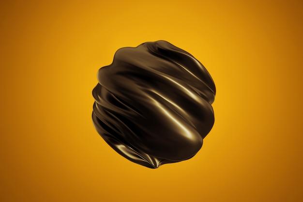Abstrakcyjny kształt nowoczesny. skręcona czarna kula