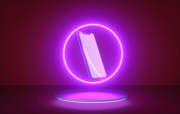Abstrakcyjny lot, kształt pierścienia światła neonowego i smartfon na podium. renderowania 3d