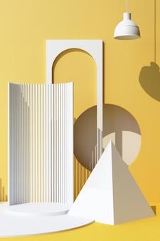 Abstrakcyjny obiekt białe tło z podium kształt geometryczny dla produktu z cieniem na ścianie. minimalna koncepcja żółty i biały. ramka pionowa renderowania 3d