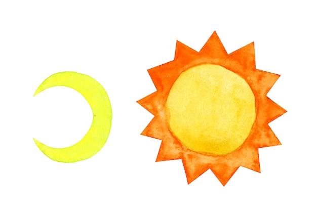 Abstrakcyjny obraz akwareli ręcznie rysować doodle księżyc i słońce dziecinna kreskówka doodle styl