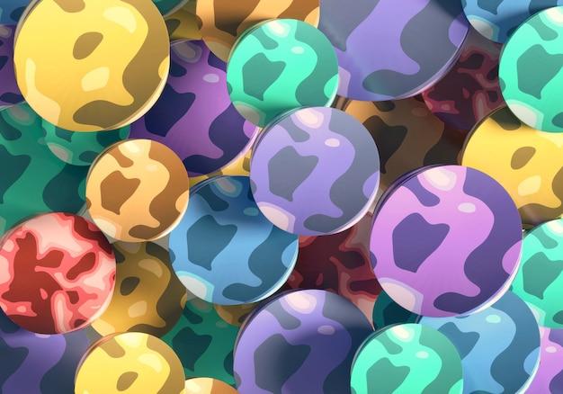 Abstrakcyjny okrągły kształt kolorowe tło renderowania 3d
