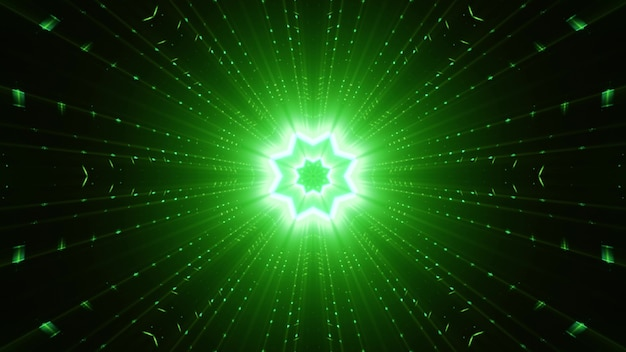 Abstrakcyjny ornament w kształcie gwiazdy i proste belki lśniące żywym zielonym światłem neonowym