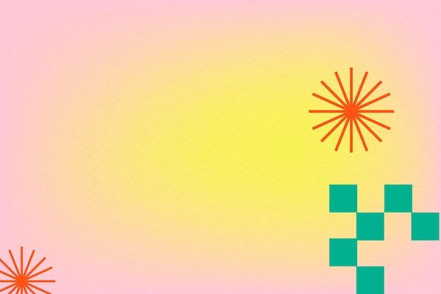 Abstrakcyjny różowy gradient tła memphis z geometrycznymi kształtami