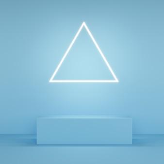 Abstrakcyjny różowy kolorowy wyświetlacz w kształcie trójkąta neonowe światło na niebiesko