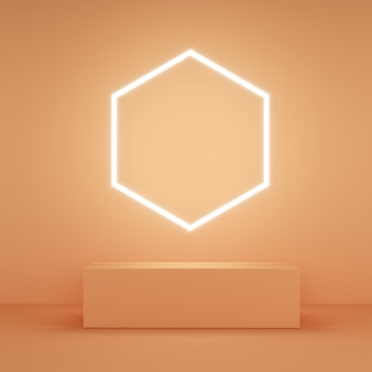 Abstrakcyjny różowy kolorowy wyświetlacz z pomarańczowym światłem hexagon neon