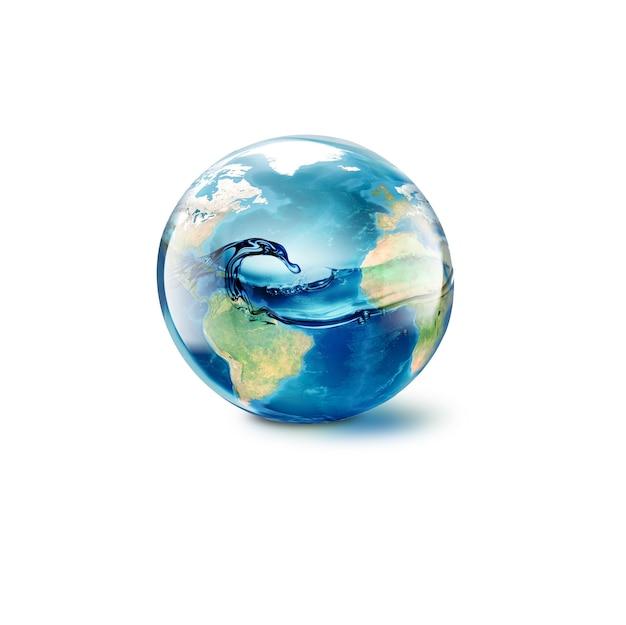 Abstrakcyjny świat z wodą w środku na białym tle