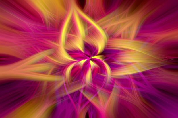 Abstrakcyjny świecący kwiat jasne przeplatające się promienie psychodeliczne jasne tło
