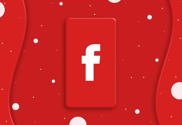 Abstrakcyjny telefon z ikoną logo facebooka na ekranie 3d