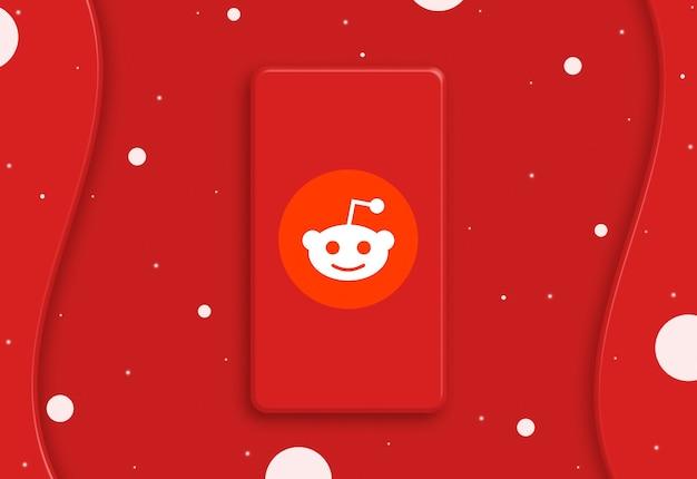 Abstrakcyjny telefon z ikoną logo reddit na ekranie 3d