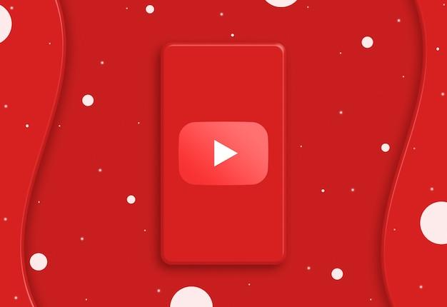 Abstrakcyjny telefon z ikoną logo youtube na ekranie 3d