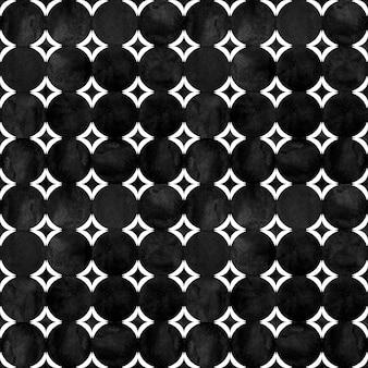 Abstrakcyjny wzór geometryczny. czarno-biała minimalistyczna monochromatyczna grafika akwarelowa z prostymi kształtami i figurami. koła akwarela tekstury w kształcie. druk na tekstylia, tapety, opakowania