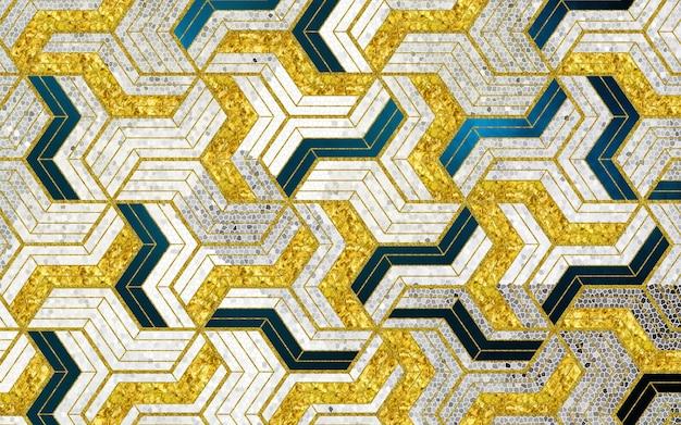 Abstrakcyjny wzór tapety 3d ze złotymi i niebieskimi czarnymi geometrycznymi i bezszwowymi kształtami