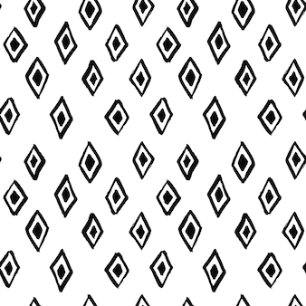 Abstrakcyjny wzór z ręcznie rysowanym kształtem rombu wykonanym pędzlem