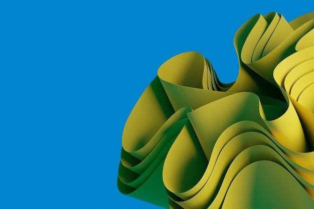 Abstrakcyjny żółty render 3d falisty obiekt na niebieskim tle kreatywna tapeta obiektu 3d