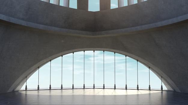 Abstrakt architektury betonowa struktura z nieba tłem. renderowanie 3d
