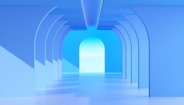 Abstrakt błękita betonu wnętrze z niebieskim niebem, błękitnej architektury budowy nowożytny wewnętrzny tło