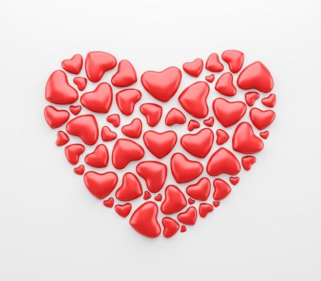 Abstrakt czerwona serce rama odizolowywająca na białym tle z szczęśliwym valentine festiwalem lub miłości deseniowym pojęciem. renderowanie 3d.