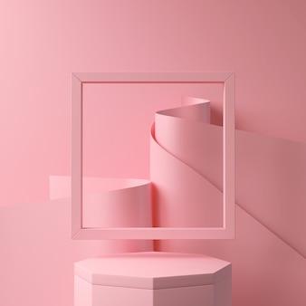 Abstrakt menchii koloru geometryczny kształt, nowożytny minimalistyczny podium pokaz lub gablota wystawowa, 3d rendering