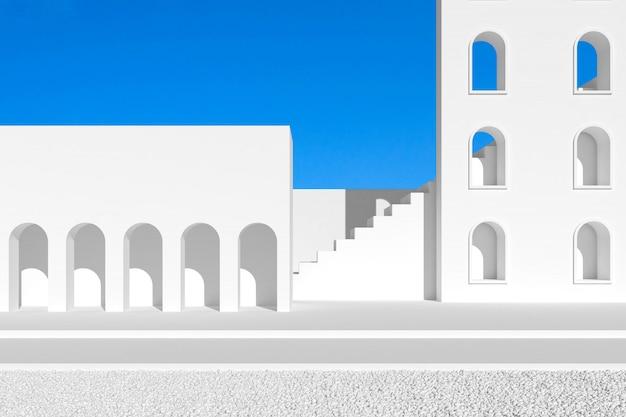 Abstrakt minimalna architektura z łękowatym drzwi i biel ścianą