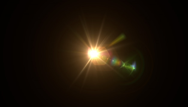 Abstrakt słońce z racą. naturalne tło z oświetleniem i słońcem