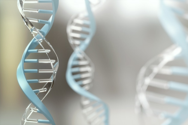 Abstrakta dna spirali struktura, molekuły biologii nauki pojęcia tło, 3d ilustracja.