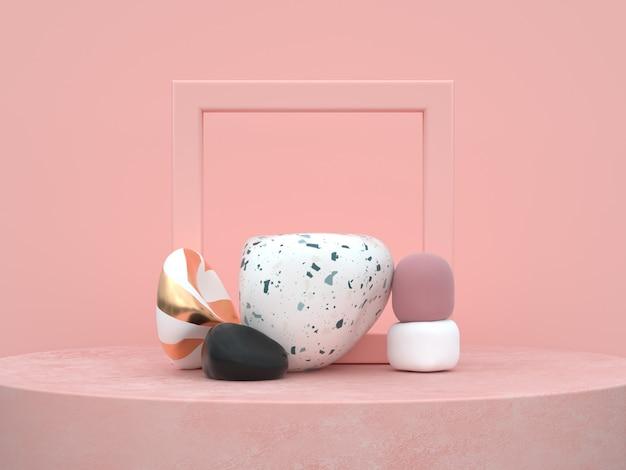 Abstrakta różowego tła organicznie kształta podium ustawia 3d rendering