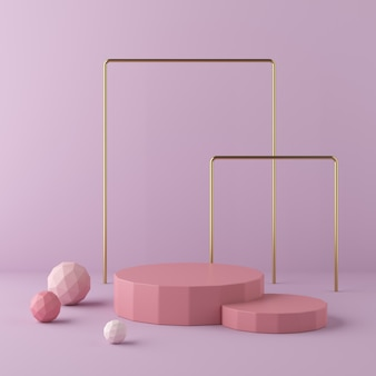 Abstrakta różowy tło z geometrycznym kształta podium. renderowania 3d