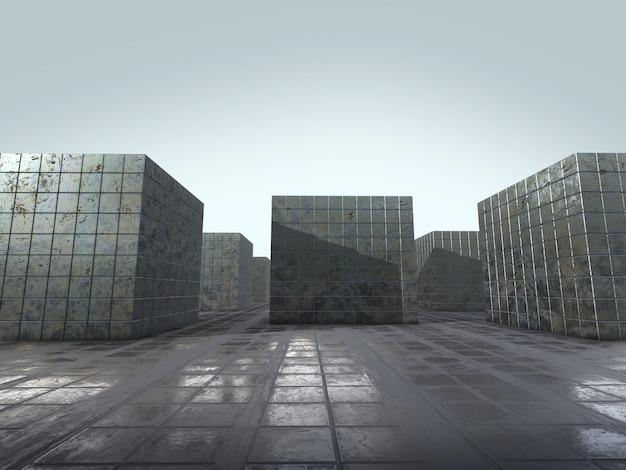 Abstrakta whit puści astronautyczni pudełka robić stal, 3d rendering.