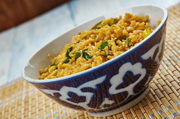 Achari warzywo indyjskie pikantne pulao, z bliska