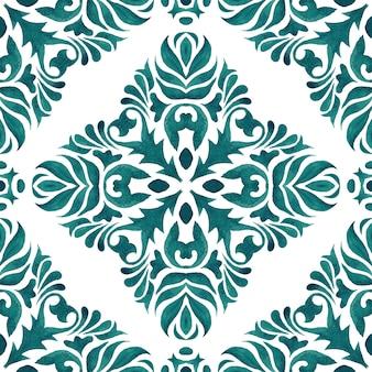 Adamaszkowa bezszwowa ozdobna akwarelowa farba arabeska wzór płytek ceramicznych