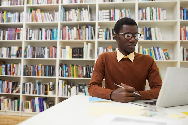 African-american man in library
