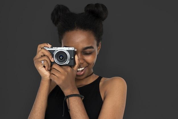 African woman camera focus photography