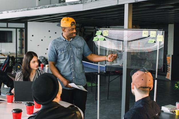 Afroamerykanin w swobodnej odzieży stojący przy szklanej ścianie biura z punktami finansowymi, wyjaśniający kolegom planowanie i strategie biznesowe, kreatywne rozwiązania podczas burzy mózgów
