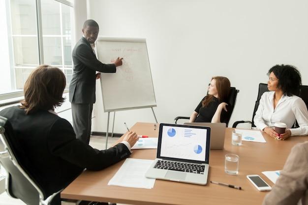 Afroamerykański biznesmen daje prezentaci wyjaśnia nowego marketingowego plan przy spotkaniem