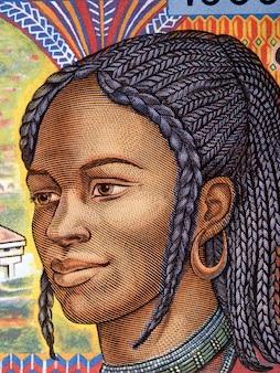 Afrykańska kobieta portret ze starych pieniędzy z afryki środkowej