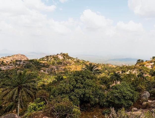 Afrykański krajobraz przyrody z górami i niebem