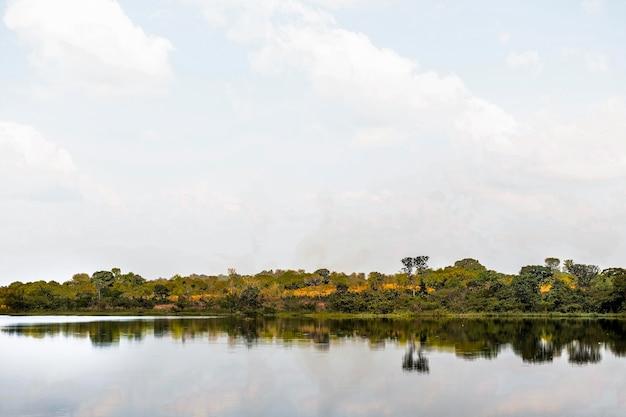 Afrykański krajobraz przyrody z jeziorem