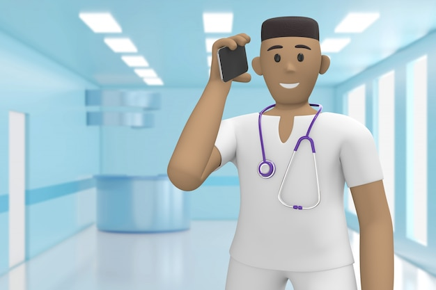 Afrykański lekarz w medycznym wnętrzu szpitala mówi przez telefon, odbiera połączenie. renderowanie 3d.