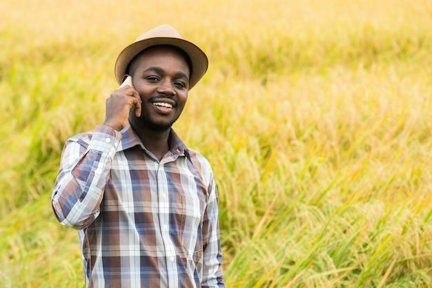 Afrykański rolnik za pomocą smartfona w ekologicznym polu ryżowym z uśmiechem i zadowolony. koncepcja rolnictwa lub uprawy