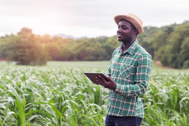 Afrykański rolnika stojak w zielonym gospodarstwie rolnym z mienie pastylką