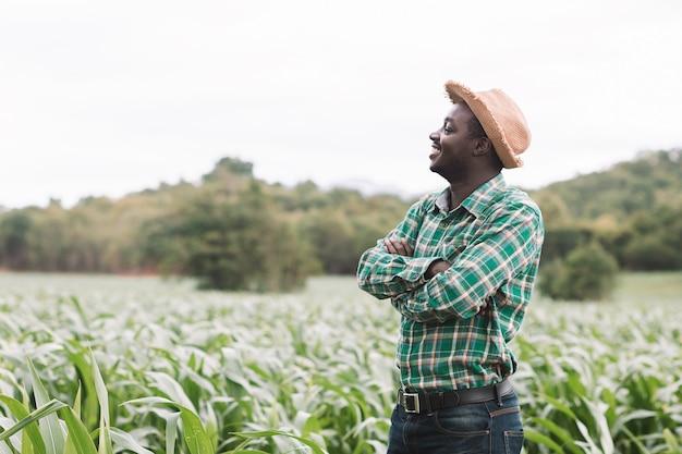 Afrykański średniorolny mężczyzna stojak przy zielonym gospodarstwem rolnym z szczęśliwy i uśmiech