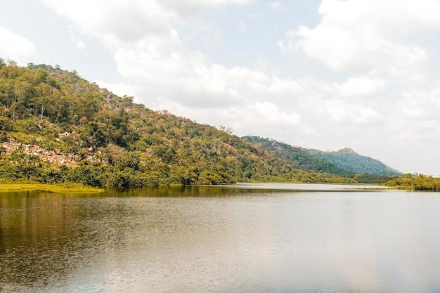 Afrykański widok przyrody z jeziorem i roślinnością