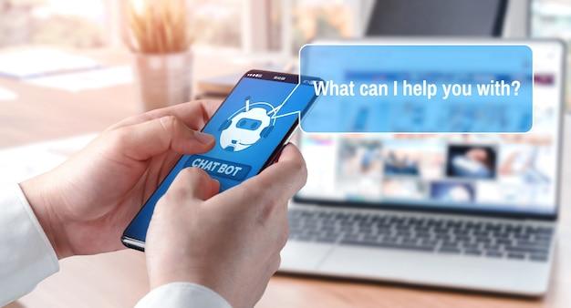 Ai chatbot inteligentna koncepcja aplikacji cyfrowej obsługi klienta.