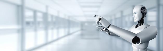 Ai humanoidalny robot dotykający palcem w przestrzeni kopii w koncepcji myślenia sztucznej inteligencji